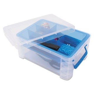 Advantus Super Stacker Divided Storage Box, Clear w/Blue Tray/Handles