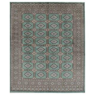 Handmade Herat Oriental Pakistani Hand-knotted Bokhara Wool Rug (7' x 8'3)