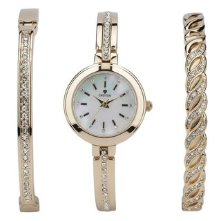 Croton Ladies Goldtone Watch Set with Two Coordinating Bracelets