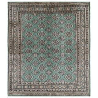 Handmade Herat Oriental Pakistani Hand-knotted Bokhara Wool Rug (7' x 7'9)