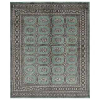 Handmade Herat Oriental Pakistani Hand-knotted Bokhara Wool Rug (6'7 x 7'10)