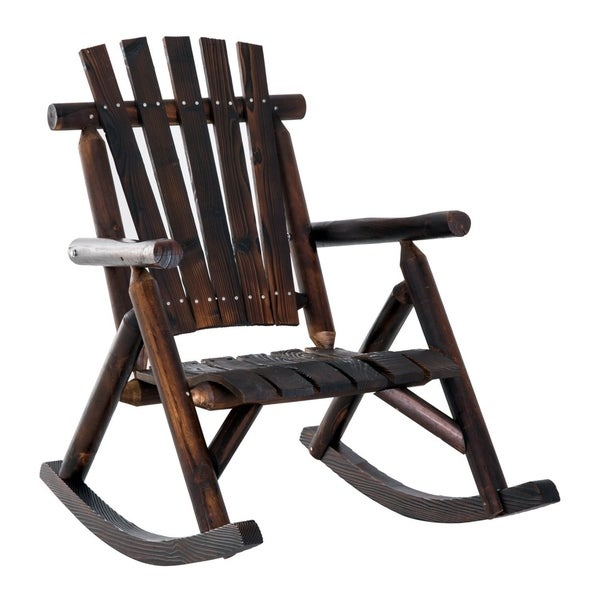 the best attitude 9bcc7 a8c76 Shop Outsunny Rustic Outdoor Fir Wood Adirondack Rocking ...
