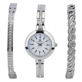 Croton Ladies Silvertone Watch Set with Two Coordinating Bracelets