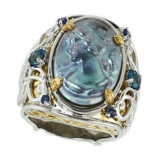 Michael Valitutti Palladium Silver Peacock Lady Cameo London Blue Topaz & Blue Sapphire Ring (2 options available)