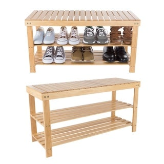 2 Tier Bamboo Shoe Rack Bench Storage Organizer - 2-Tier
