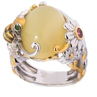 Michael Valitutti Palladium Silver Yellow Opal & Multi Gemstone Daisy & Bee Ring (3 options available)