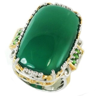 Michael Valitutti Palladium Silver Masterpiece Green Chalcedony & Chrome Diopside Cocktail Ring