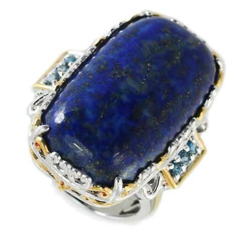Michael Valitutti Palladium Silver Masterpiece Lapis & London Blue Topaz Cocktail Ring
