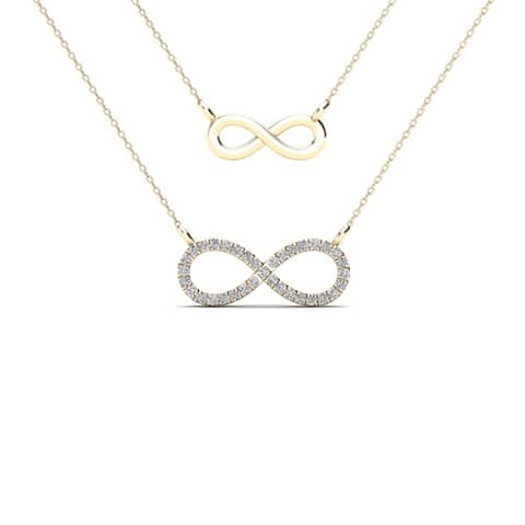AALILLY 10k Yellow Gold 1/10ct TDW Diamond Double Strand Infinity Necklace (H-I, I1-I2)
