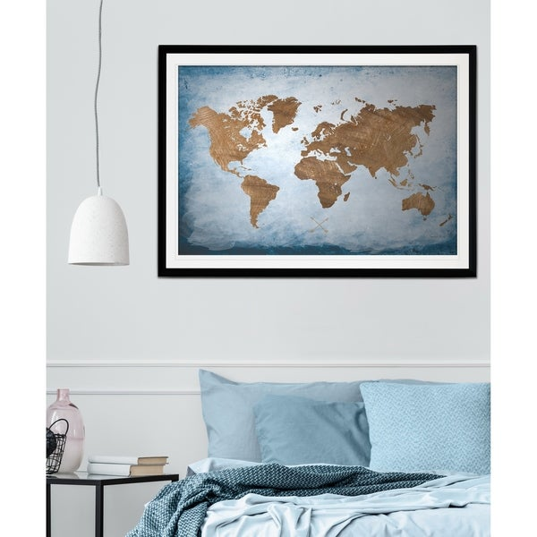 Black And White World Map Framed.Shop Washy World Map Premium Framed Print Grey Yellow Blue