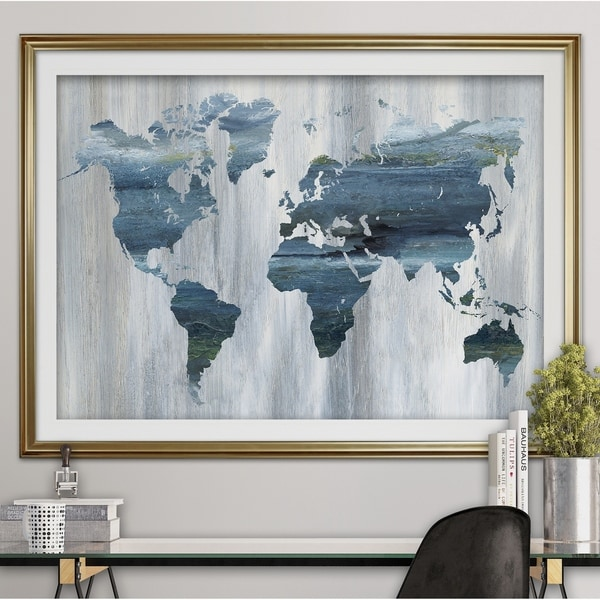 Textural world map premium framed print blue green white black textural world map premium framed print blue green white black gumiabroncs Image collections