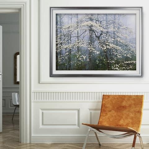 Jones _ Dogwood Canopy-Premium Framed Print - blue, green, white, black, red, grey, yellow,