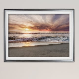 Point Reyes Beach Sunset-Premium Framed Print - blue, green, white, black, red, grey, yellow,