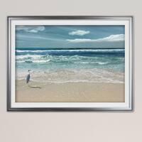 Beach Set Heron-Premium Framed Print - blue, green, white, black, red, grey, yellow,