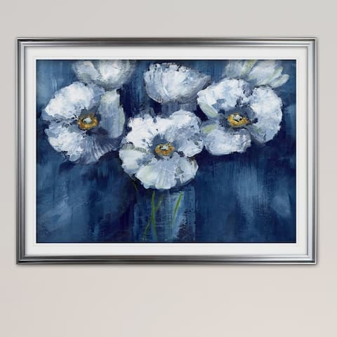 Blooming Poppies-Premium Framed Print - grey, yellow, blue, green, white, black, red