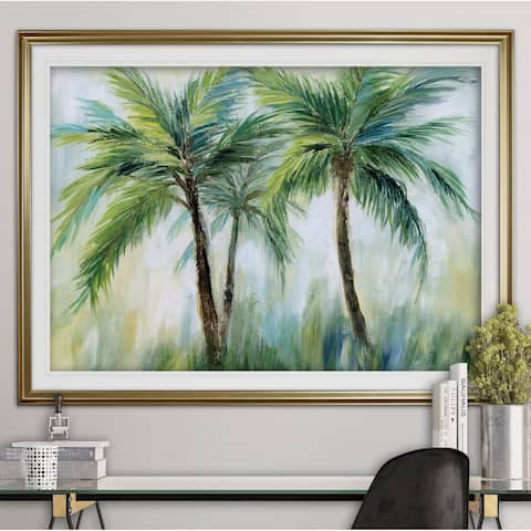 Palm Sensation-Premium Framed Print - grey, yellow, blue, green, white, black, red