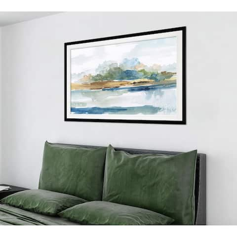 Blue Solace-Premium Framed Print - grey, yellow, blue, green, white, black, red
