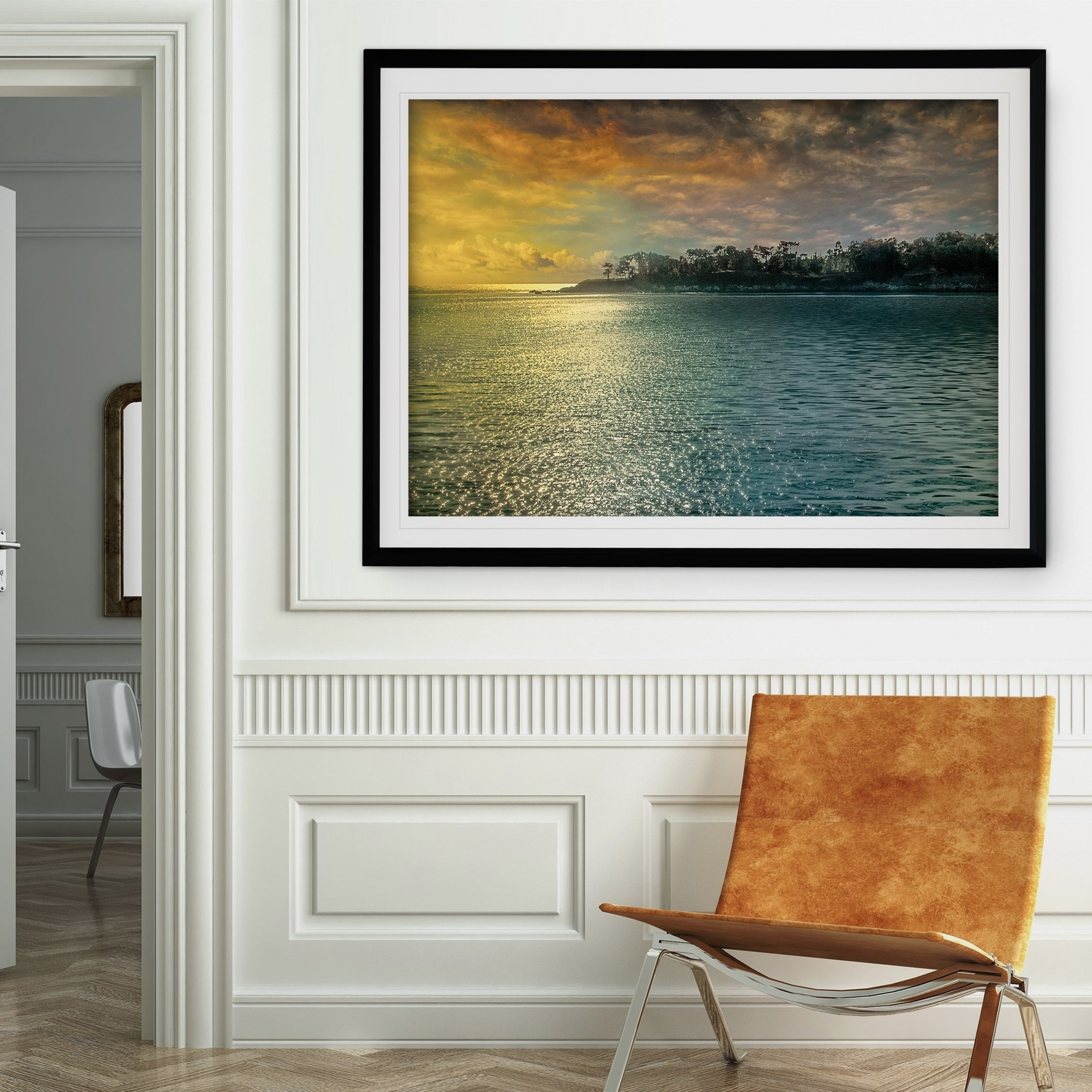 Mystic Island Premium Framed Print Grey Yellow Blue Green White Black Red Overstock 22257183