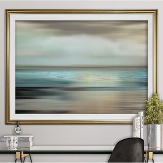 Shimmering Sea-Premium Framed Print - grey, yellow, blue, green, white, black, red