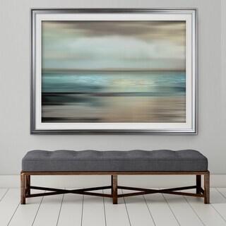 Shimmering Sea-Premium Framed Print - grey, yellow, blue, green, white, black, red