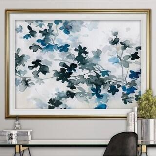 Blue Cherry Blossoms-Premium Framed Print - grey, yellow, blue, green, white, black, red