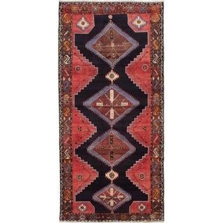 eCarpetGallery  Hand-knotted Hamadan Dark Navy, Red Wool Rug - 4'3 x 8'11