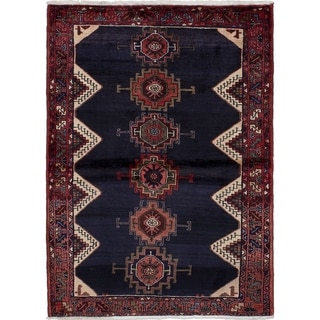 eCarpetGallery  Hand-knotted Nahavand Dark Navy Wool Rug - 3'6 x 4'9