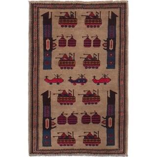eCarpetGallery Hand-knotted Rare War Tan Wool Rug - 2'10 x 4'7