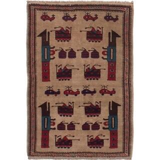 eCarpetGallery Hand-knotted Rare War Tan Wool Rug - 3'2 x 4'9