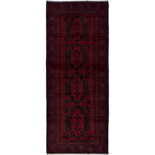 eCarpetGallery Hand-knotted Royal Baluch Dark Brown, Red Wool Rug - 2'9 x 7'0