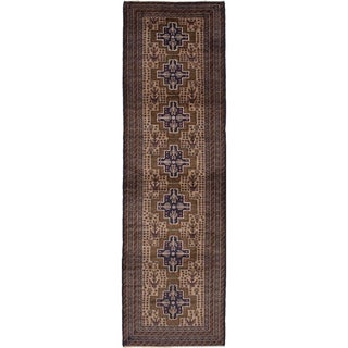 eCarpetGallery Hand-knotted Royal Baluch Tan Wool Rug - 3'4 x 11'7