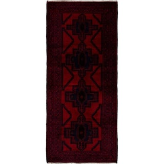 eCarpetGallery Hand-knotted Teimani Red Wool Rug - 2'11 x 6'6
