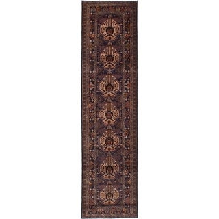 eCarpetGallery Hand-knotted Royal Baluch Dark Navy Wool Rug - 2'7 x 10'0