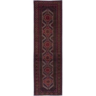 eCarpetGallery Hand-knotted Teimani Dark Navy Wool Rug - 2'11 x 9'11
