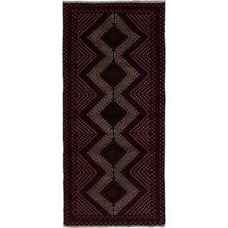 eCarpetGallery Hand-knotted Finest Rizbaft Dark Red Wool Rug - 2'8 x 6'0