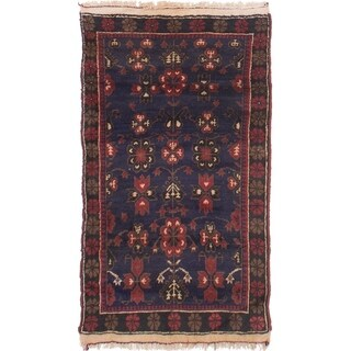 eCarpetGallery Hand-knotted Finest Rizbaft Dark Navy Wool Rug - 2'7 x 4'7