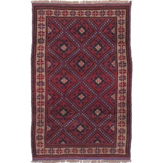 eCarpetGallery Hand-knotted Finest Rizbaft Red Wool Rug - 2'11 x 4'9
