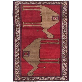 eCarpetGallery Hand-knotted Royal Baluch Dark Red Wool Rug - 3'2 x 4'8