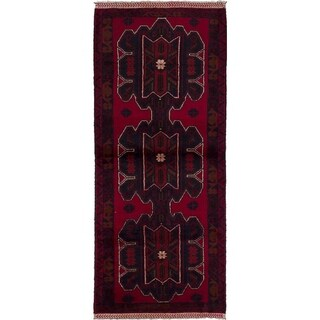 eCarpetGallery Hand-knotted Royal Baluch Dark Navy, Red Wool Rug - 2'8 x 6'4