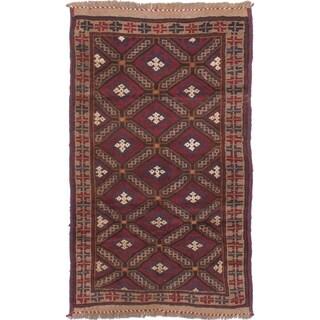 eCarpetGallery Hand-knotted Finest Rizbaft Dark Red Wool Rug - 2'10 x 4'9