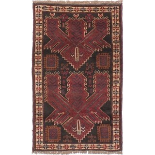 eCarpetGallery Hand-knotted Finest Rizbaft Black Wool Rug - 2'9 x 4'8
