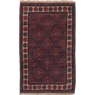 eCarpetGallery Hand-knotted Finest Rizbaft Dark Red Wool Rug - 2'11 x 4'10