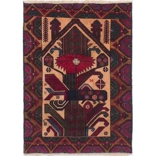 eCarpetGallery Hand-knotted Finest Rizbaft Dark Red, Tan Wool Rug - 2'10 x 4'3