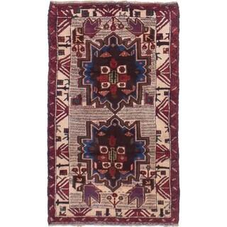 eCarpetGallery Hand-knotted Vintage Tribal Cream Wool Rug - 2'10 x 4'10
