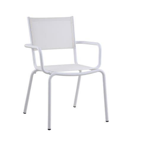 Somette California Outdoor Arm Chair with Aluminum Frame, Set of 4