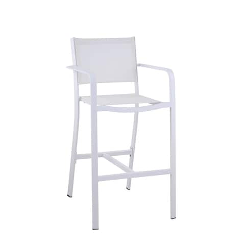 Somette Melli Outdoor Barstool with Aluminum Frame, Set of 2