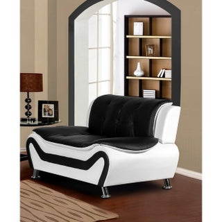 US Pride Furniture Arul Tufted Faux Leather Modern Club Loveseat