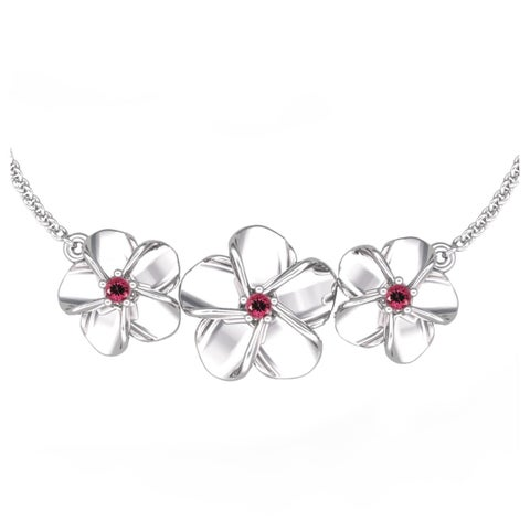 Sterling Silver Beautiful Floral Necklace in Blue Topaz, Citrine, Pink Tourmaline, Created Ruby, Created Blue Sapphire