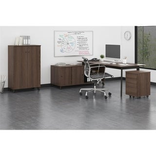 Ameriwood Home Office Suite with Desk and File in Medium Brown
