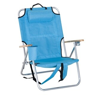 Outsunny Aluminum Portable Reclining Outdoor Quad Chair Backpack With Headrest And Storage - Blue
